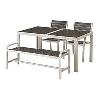 Стол+2стула+скамья ШЭЛЛАНД темно-серый, ИКЕА, IKEA