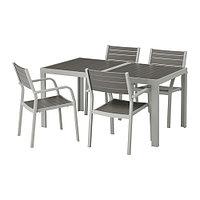 Стол+4 кресла ШЭЛЛАНД темно-серый 156x90 см ИКЕА, IKEA