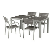 Стол+4 складных стула, д/сада ШЭЛЛАНД темно-серый ИКЕА, IKEA, фото 1