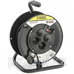 Удлинитель силовой на кабельной катушке, 25м, 4 розетки с крышкой, IP44, 16А, серия УХз16 DENZEL