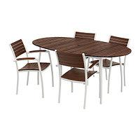 Стол+4 стула с подлокотниками ВИНДАЛЬШЁ коричневая морилка ИКЕА, IKEA, фото 1