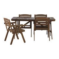 Стол+4 кресла, д/сада ФАЛЬХОЛЬМЕН серо-коричневый ИКЕА, IKEA, фото 1