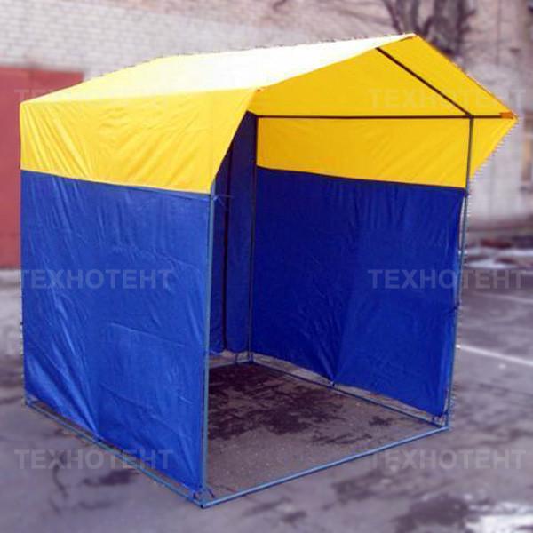 Палатка торговая разборная «Домик» 2x2 м из квадратной трубы желто-синяя