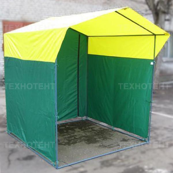 Палатка торговая разборная «Домик» 2x2 м из квадратной трубы желто-зеленая