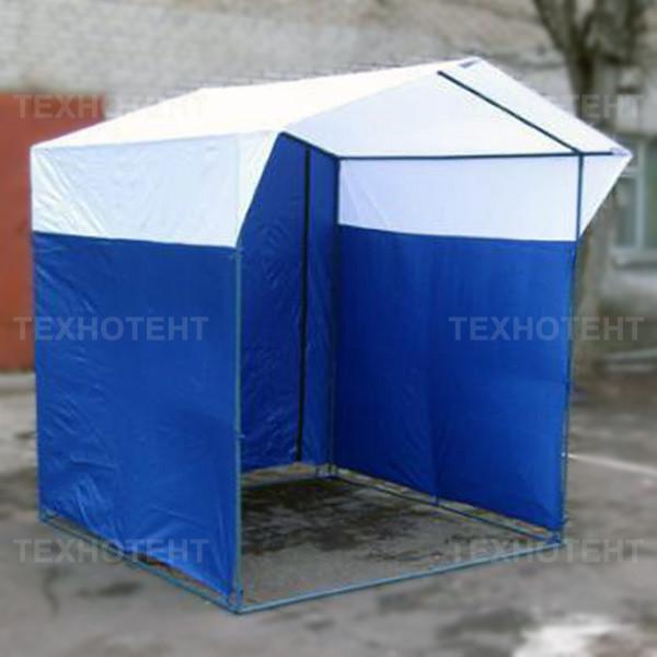 Палатка торговая разборная «Домик» 2x2 м из квадратной трубы бело-синяя