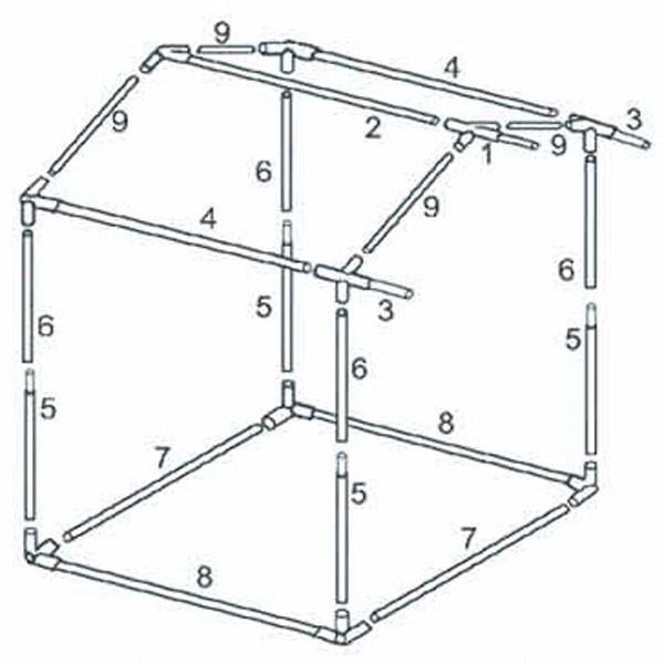 Каркас 2,0x3,0 м для палатки торговой «Домик» из квадратной трубы