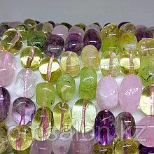 Микс из камней - аметист, розовый кварц, пренит, цитрин, 13х9мм