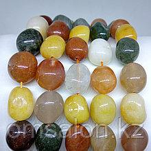 Микс из камней - нефрит, сердолик, рутиловый кварц, 13х10мм