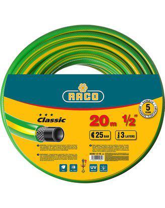 "Шланг RACO CLASSIC поливочный, 25атм., армированный, 3-х слойный, 1/2""х20м"