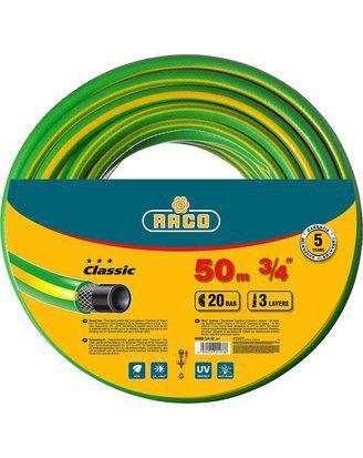 "Шланг RACO CLASSIC поливочный, 20атм., армированный, 3-х слойный, 3/4""х50м"