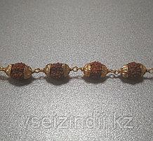 Браслет из Рудракши в металле, 23 размер, диаметр 6 мм