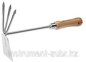 """Мотыжка ЗУБР """"ЭКСПЕРТ"""" комбинированная из нерж. стали, деревянная ручка из ясеня, прямое лезвие + 3 зубца, 190х80х330мм"""