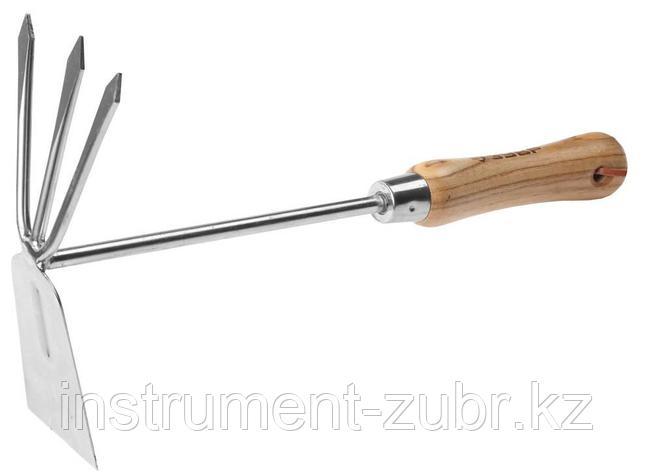 """Мотыжка ЗУБР """"ЭКСПЕРТ"""" комбинированная из нерж. стали, деревянная ручка из ясеня, прямое лезвие + 3 зубца, 190х80х330мм                               , фото 2"""