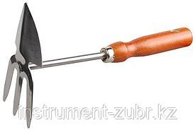 Мотыжка садовая GRINDA, сердцевидное лезвие - 3 зубца, из нержавеющей стали, деревянная ручка, 250мм