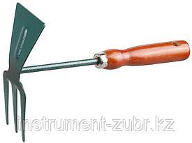 Мотыжка GRINDA, прямое лезвие, 3 зубца, из углеродистой стали с деревянной ручкой, 250 мм