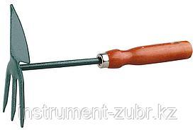 Мотыжка GRINDA, сердцевидное лезвие, 3 зубца, из углеродистой стали с деревянной ручкой, 250 мм