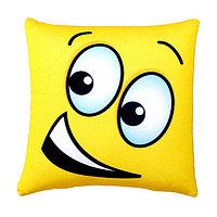 Стильная подушка квадратная желтый смайлик 40 см габардин