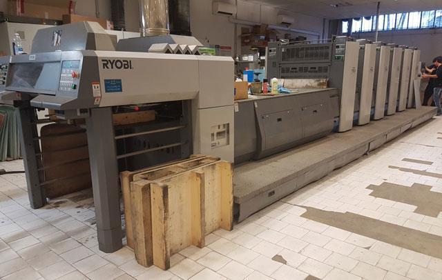 Ryobi 755+LX б/у 2005г - Пятикрасочная + лак печатная машина