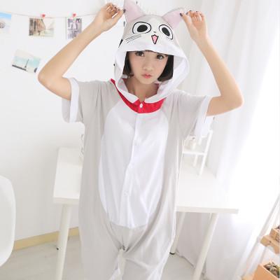 Кигуруми летняя пижама кошка серая