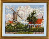 """Набор для вышивания крестом """"Ветряная мельница в Кноке"""" по мотивам картины К. Писсарро"""