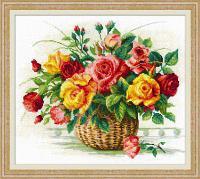 """Набор для вышивания крестом """"Корзина с розами"""", фото 1"""