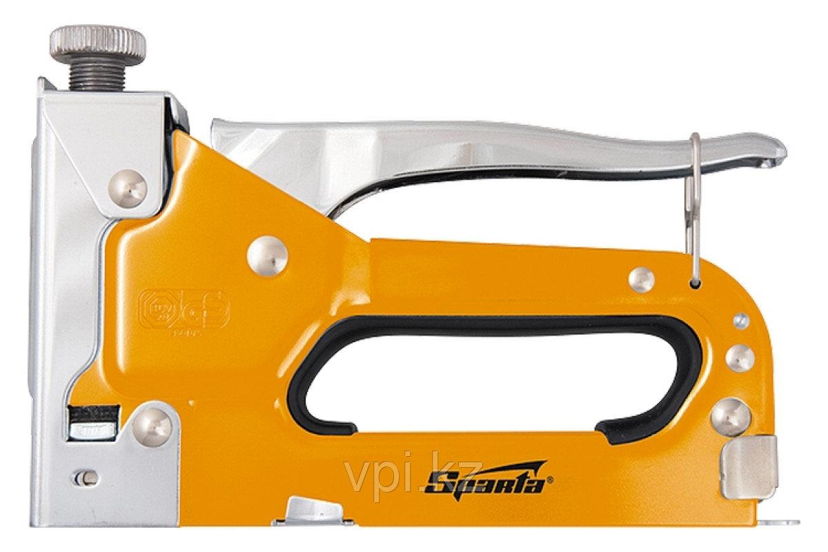 Пистолет скобозабивной с регулировкой,  со скобами 200 шт.  тип 53,  6-14мм.  Sparta
