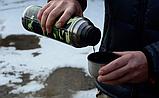Термос бытовой, вакуумный питьевой в кожаной оплетке, 1000 мл Хаки, фото 3