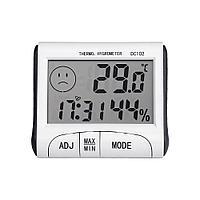 Комнатный термометр с гигрометром и часами DC102