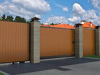 Откатные уличные ворота в алюминиевой раме с заполнением сэндвич-панелями SLG-A, фото 1
