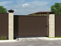 Откатные уличные ворота стандартных размеров в алюминиевой раме с заполнением сэндвич-панелями SLG-S, фото 1