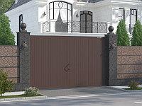 Распашные ворота в алюминиевой раме с заполнением сэндвич-панелями SWG-A, фото 1