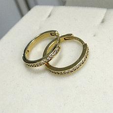 Серьги конго с цирконом / жёлтое золото