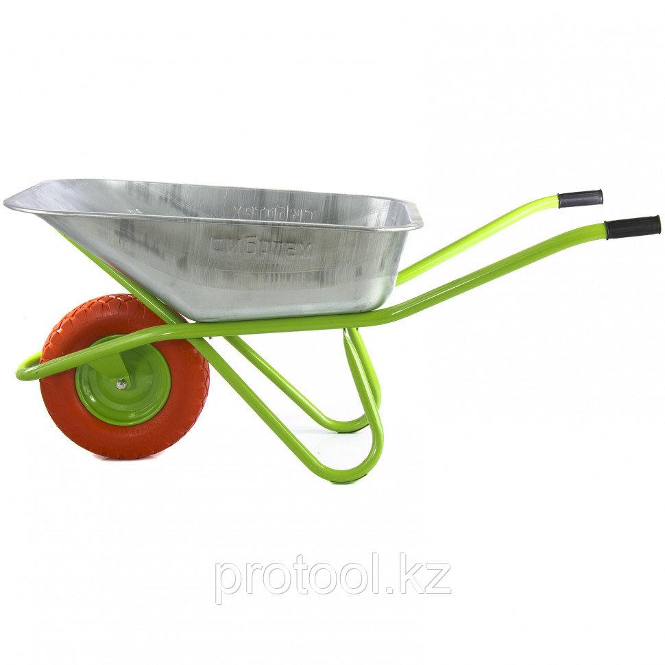 Тачка садово-строительная с PU колесом, грузоподъемность 180 кг, объем 90 л// СИБРТЕХ