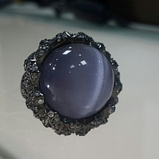 Кольцо с кошачьим глазом / серебро - 17, 5 размер