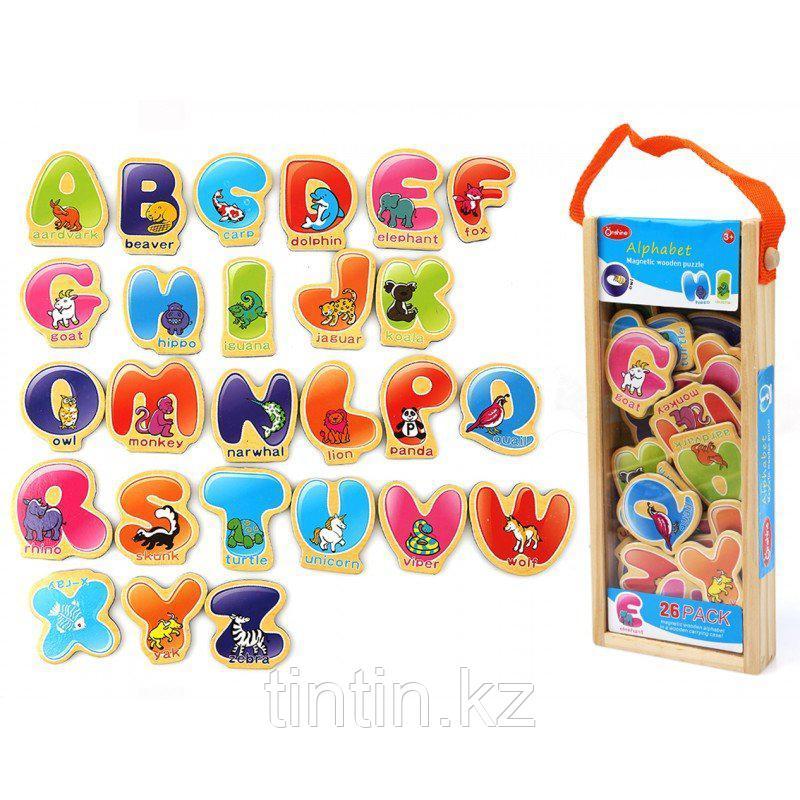 """Деревянный магнитный набор """"Английский алфавит"""", 26 штук"""