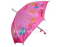 Зонт-трость детский Свинка Пеппа (розовый) со складным пластиковым чехлом