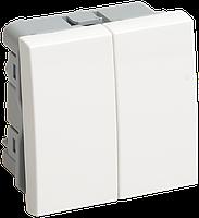 IEK ВК1-22-00-П Выключатель двухклавишный (на 2 модуля) ПРАЙМЕР белый IEK, фото 1