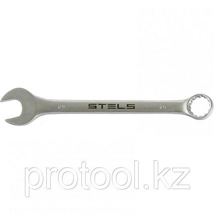Ключ комбинированный, 28 мм, CrV, матовый хром STELS, фото 2