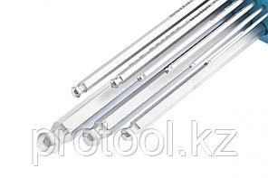 Набор ключей имбусовых HEX, 1,5–10 мм, S2, 9 шт.,  экстра-длин с  шаром, сатинированные Gross, фото 2