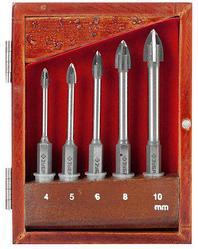 Набор сверла по кафелю и стеклу ЗУБР 29845-H5, ЭКСПЕРТ, с четырьмя режущими лезвиями d = 4, 5, 6, 8, 10 мм.