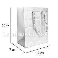"""Подарочный пакет """"Плитка"""" белый 12x15x7 см"""
