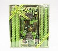 Свечи с подсвечниками в подарочной упаковке, 4 шт., зеленые