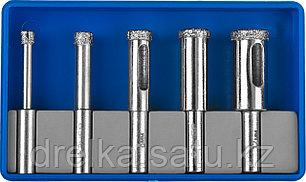 Набор сверл алмазных трубчатых по кафелю и стеклу, d=4, 6, 8, 10, 12 мм, 5 предметов, ЗУБР Профессионал, фото 2