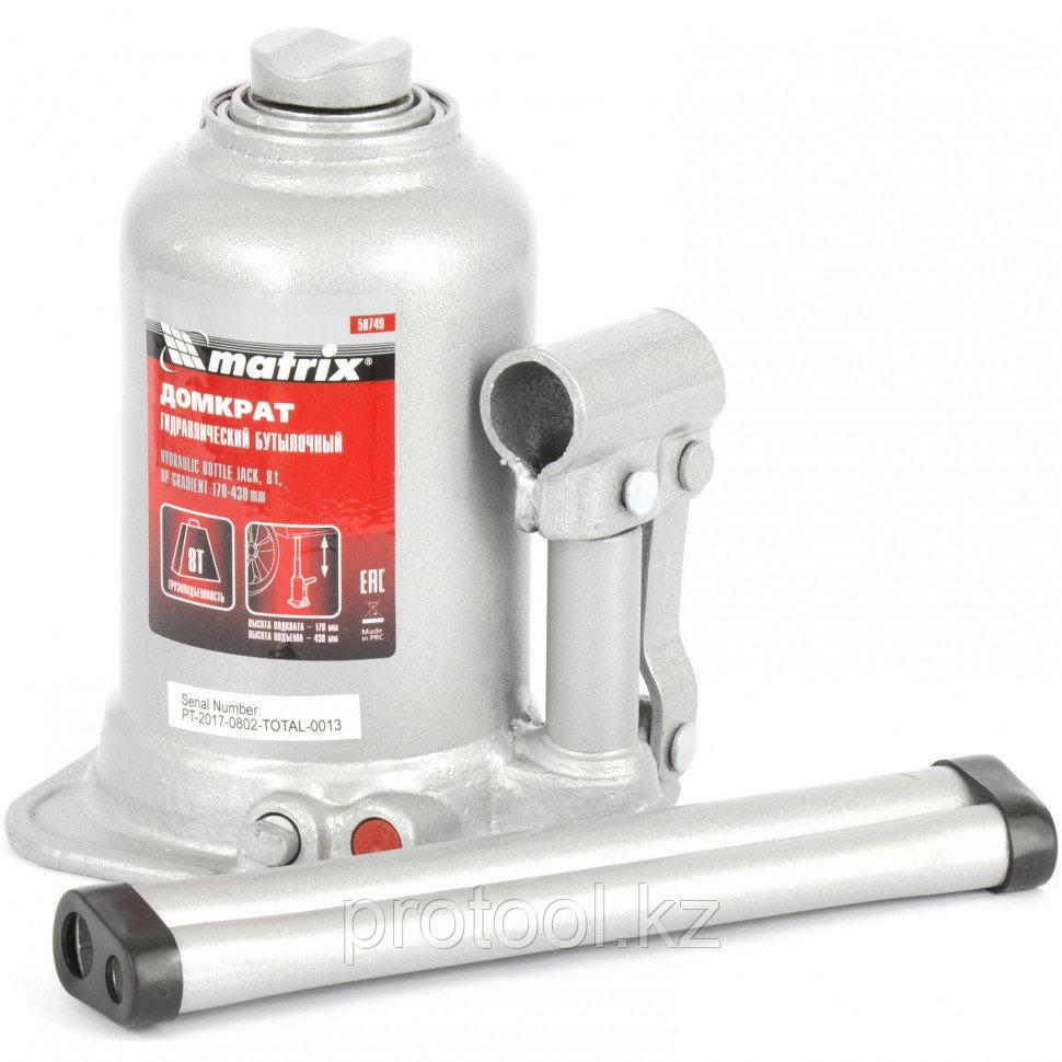 Домкрат гидравлический бутылочный телескопический, 8 т, подъем 170-430 мм MATRIX