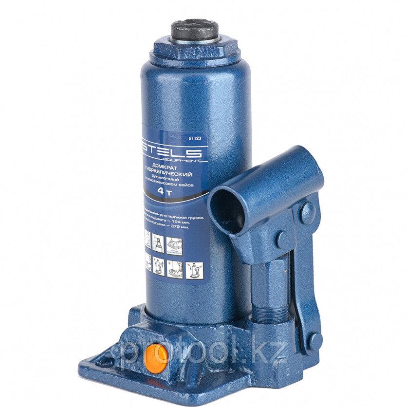Домкрат гидравлический бутылочный, 4 т, h подъема 194–372 мм, в пласт. кейсе STELS