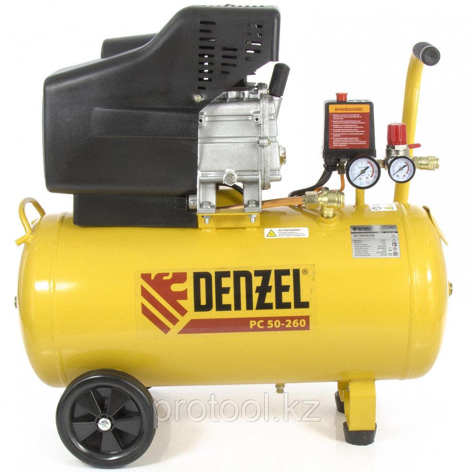 Компрессор воздушный PC 50-260, 1.8 кВт, 260л/мин, 50л, 10 бар DENZEL