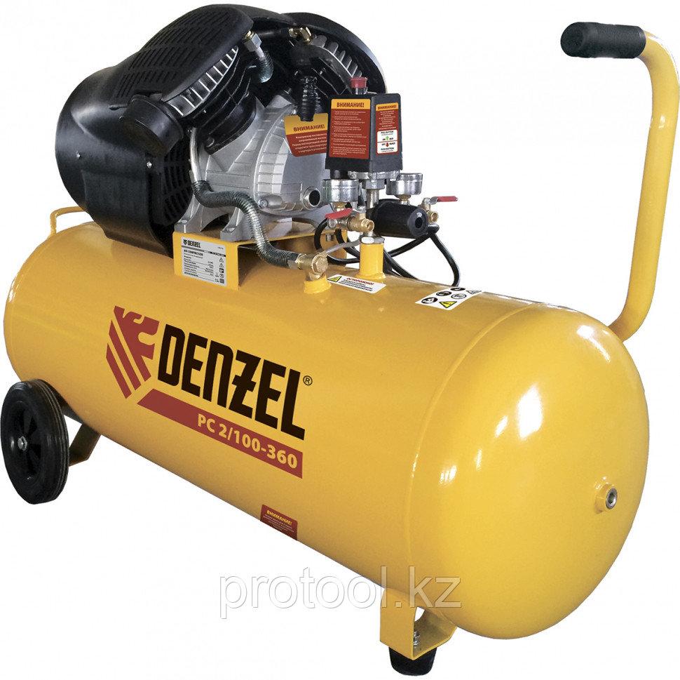 Компрессор воздушный PC 2/100-360, 2.3 кВт, 360 л/мин, 100л, 10 бар DENZEL