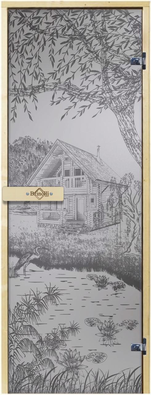 Дверь для сауны «Дом у озера»