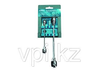 Набор многоразмерных накидных ключей с трещеткой и реверсом,  8-19мм, 2шт. Gross