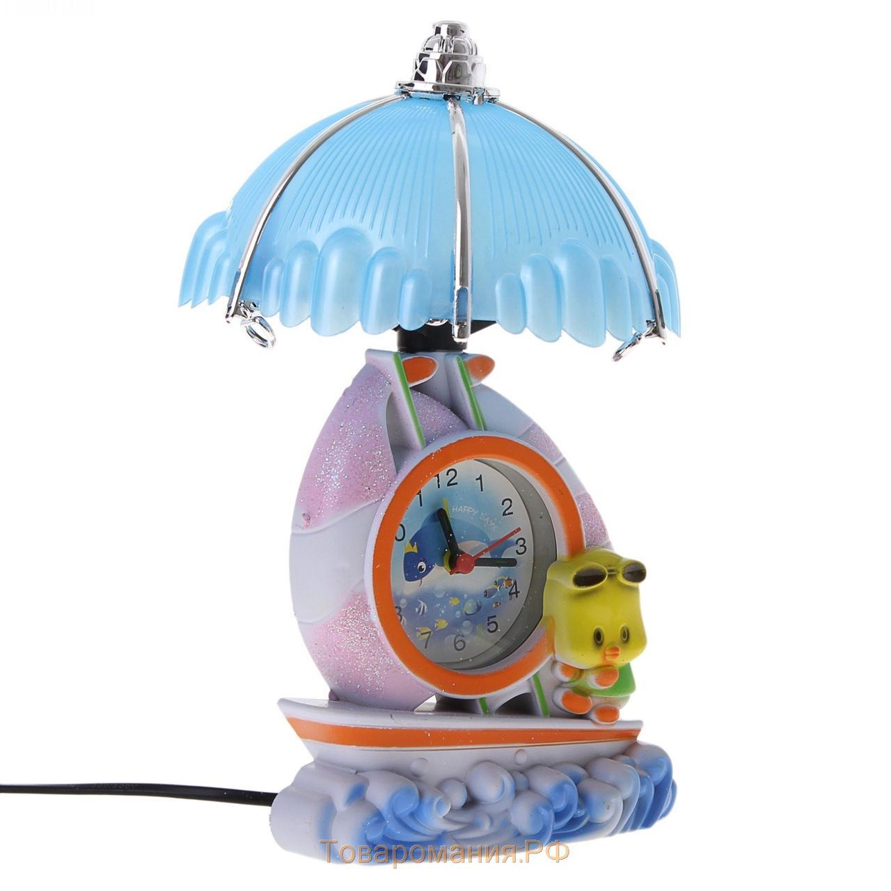 """Часы-светильник с будильником """"Утенок на лодочке на волнах"""""""